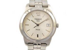 Vintage-Tissot-1853-PR50-Quartz-Montre-Homme-Acier-Inoxydable-1259