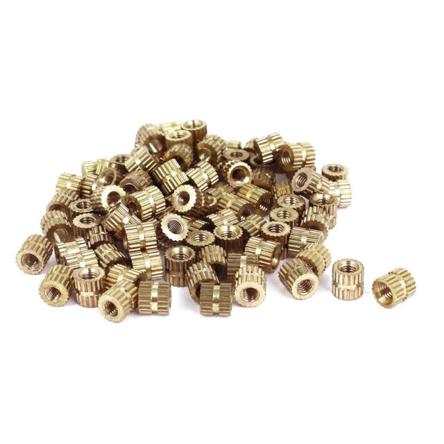 M3x5mm(L)-5mm(OD) Metric Threaded Brass Knurl Round Insert Nuts 100pcs HY