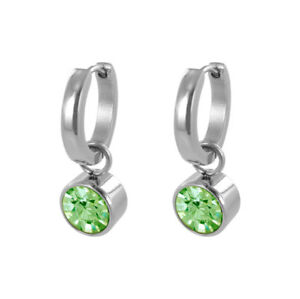 Coco88-Ladies-Hoop-Earrings-Birthstone-Collection-8CE-60007-August-Stainless