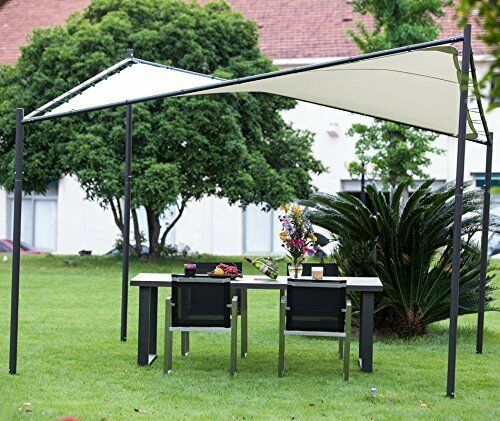 ABBA Patio Steel Polyester Fabric Square Butterfly Gazebo 12 X FT Ecru  Color | EBay