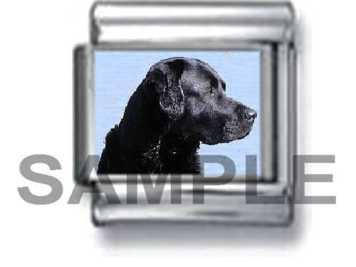 BLACK LAB PUPPY DOG 9MM ITALIAN CHARM LINK labrador dogs pet love retriever