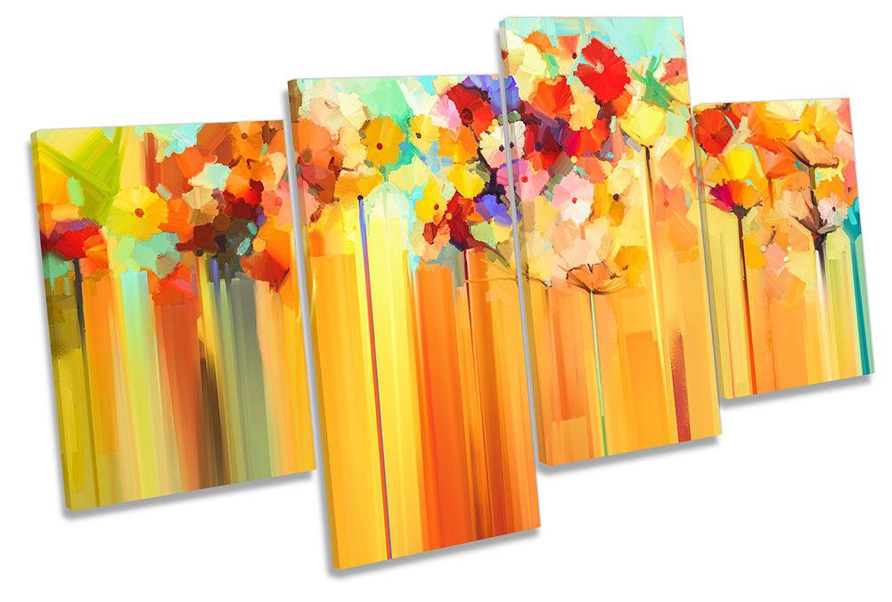 Abstract Floral Orange Blossom Framed MULTI CANVAS Drucken Wand Kunst