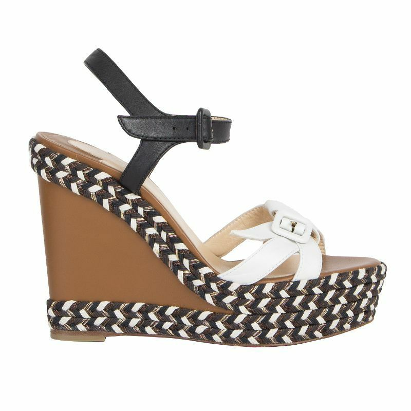 outlet 53242 auth CHRISTIAN LOUBOUTIN Marrone leather Platform Wedge Sandals Sandals Sandals scarpe 38  vendita calda online
