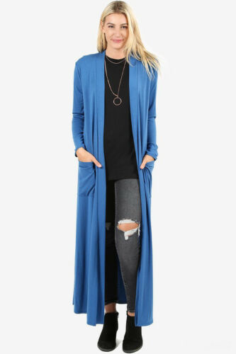 Women/'s Full Length Maxi Cardigan Duster Open Front Sweater Long Sleeve Solids