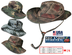 f6044f41992 Bucket Hat Boonie Hunting Fishing Outdoor Cap Cotton Camouflage Hat ...