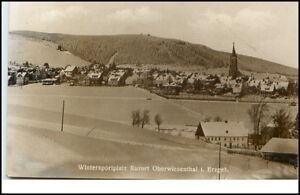 Oberwiesenthal-Sachsen-DDR-Postkarte-1950-60-Erzgebirge-Panorama-im-Winter