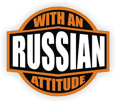 Russian With An Attitude Hard Hat Decal / Helmet Sticker Label Russia Moscow