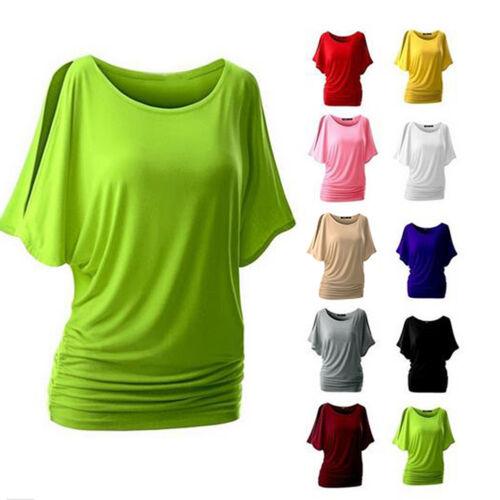 Damen Bluse Shirt Tunika Top Flügel Batwing T-shirt Sommer Oberteil Longshir