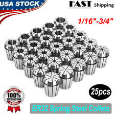 "ER32 Spring Steel Collets 1//8-13//16/"" by 16th /& 32nd Industrial Grade Accurate 25"