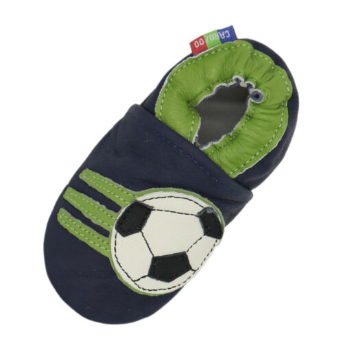 carozoo soccer dark blue 6-12m soft sole leather baby slippers shoes