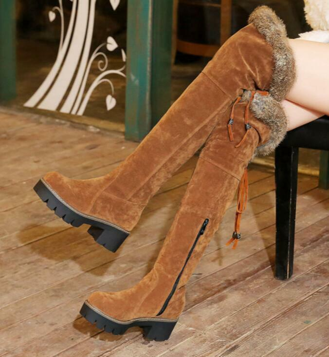 Ladies Zipper Winter Round Toe Suede Faux Fur Knight Over Knee High Boots shoes