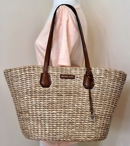 Details about Michael Kors Malibu Large Woven Straw Natural Chestnut Tote Beach Bag