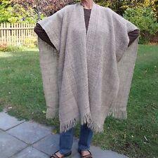 MANOS DEL URUGUAY Womens Beige Shawl Poncho Cape Wrap Wool Handmade Earthy Vtg