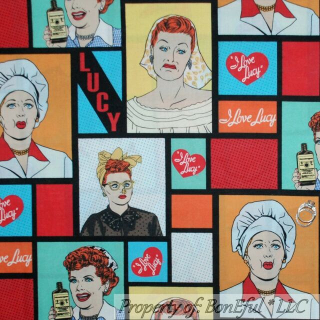 BonEful Fabric Cotton Quilt I LOVE LUCY Antique Patchwork Heart Word Lady SCRAP