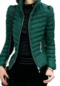 buy online 3de84 f9970 Details zu Damen Jacke Steppjacke Übergangsjacke Reißverschluss kurz  tailliert grün