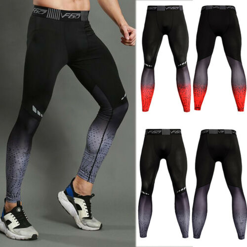 Mens Compression Pants Long Gym Running Training Base Layers Dry fit Reflective