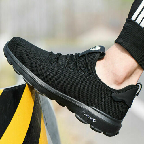 BLACK MENS STEEL TOE CAP LIGHTWEIGHT SAFETY SHOES WORK  BOOTS HIKING TRAINERS UK