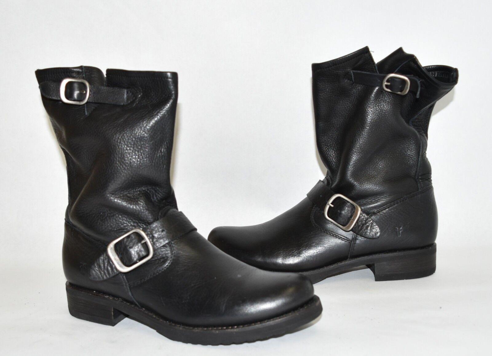 300+ FRYE 'Veronica Short' Slouchy Boot MOTO BIKER BLACK BLACK BLACK LEATHER 8 B (K12) e02586