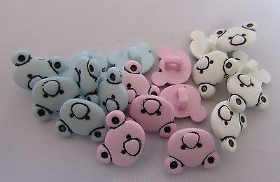 14mm x 10mm  White Teddy Bear Buttons on a Shank in Packs of 2 5 or 10
