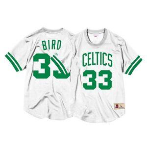 Larry-Bird-Boston-Celtics-Mitchell-amp-Ness-Men-039-s-Mesh-Crew-Neck-N-amp-N-White-Jersey