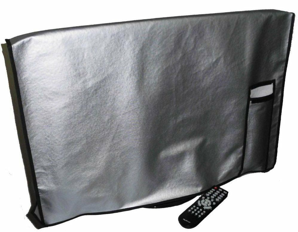 Large Flat Screen TV     LED   HDTV Vinyl Padded Dust Covers With Remote Pocket f669cc