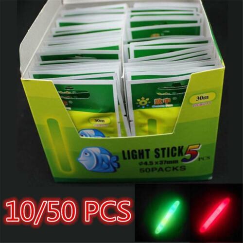 10//50PCS Night Useful Dark Glow Stick Fishing Float Fluorescent Light Lightstick