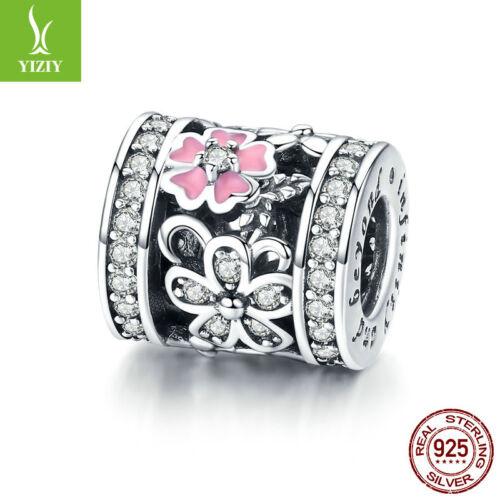Fashion 925 Sterling Silver Flower Language Zirconia Charm Jewelry Women Girls
