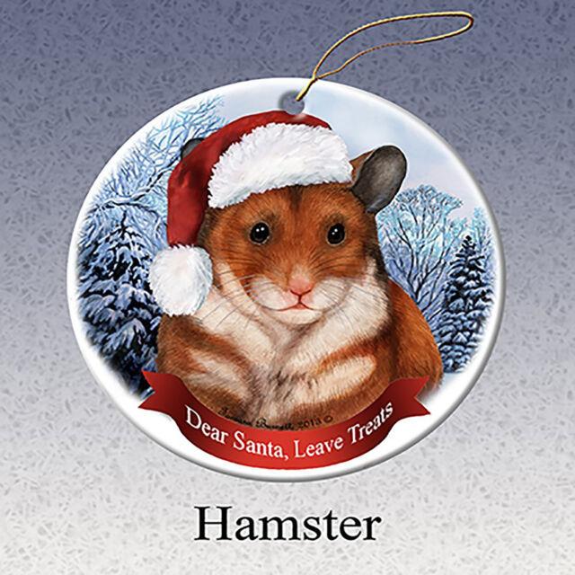 Holiday Pet Gifts Hamster Santa Hat Porcelain Christmas Tree Ornament - Holiday Pet Gifts Hamster Santa Hat Porcelain Christmas Tree
