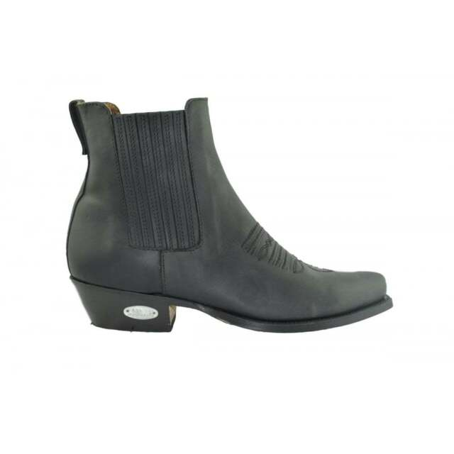 b7408b3242a Loblan 298 Black Waxy Leather Cowboy Short Western BOOTS Pointed Ankle Boot  Mens UK 7 / EU 41