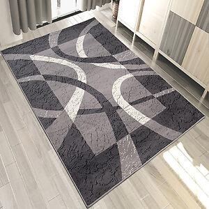Das Bild Wird Geladen Teppich Modern Klassisch Grau Kurzflor Mit Gestreift RETRO