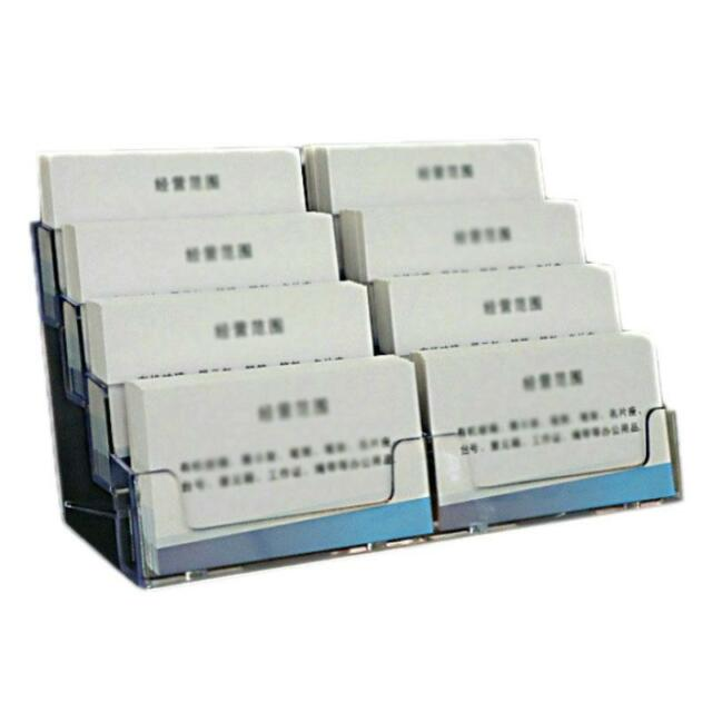 8 Pocket Desktop Clear Acrylic Business Card Holder Countertop