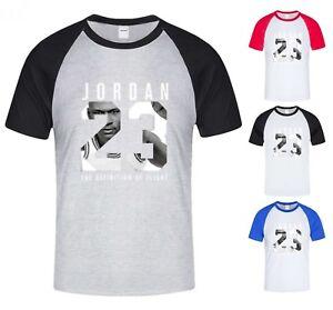 Nouveau-T-Shirt-Homme-Michael-air-legend-23-JORDAN-Hommes-Baseball-Shirt-Raglan-graphique