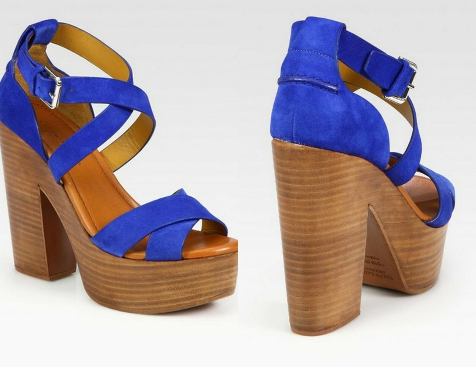 RALPH LAUREN COLLECTION ALANNAH blueE SUEDE WOOD PLATFORM WEDGE HEELS 6.5 4