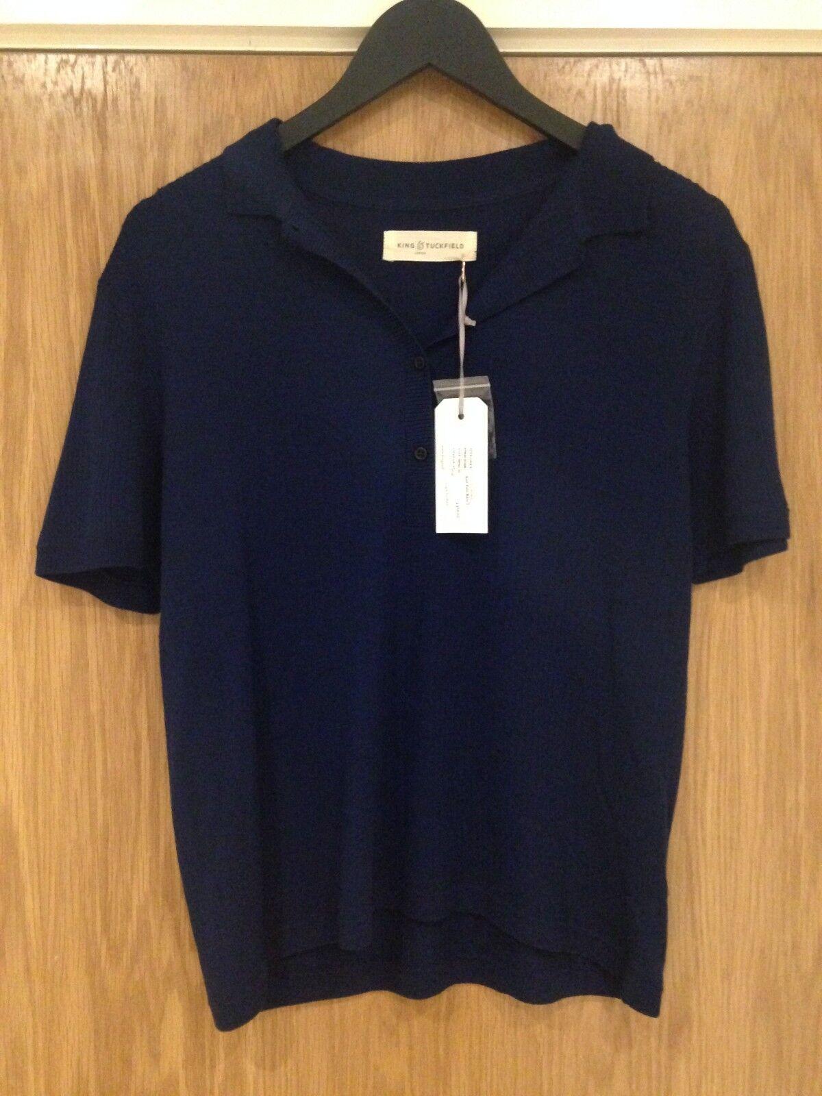 Designer King Tuckfield Woman's Small 100% Marino Navy Blau Polo Shirt BNWT