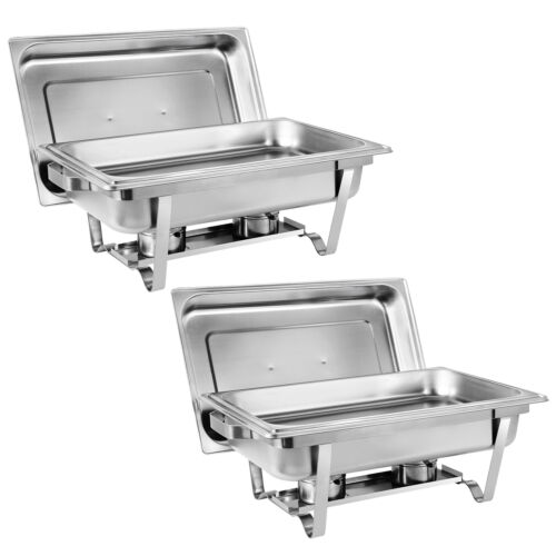 Set of 2 8 Qt Stainless Steel Chafer Full Size Chafer for Party Serving
