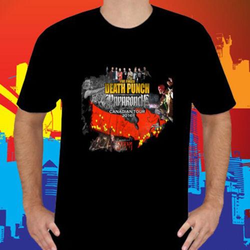 New Five Finger Death Punch /& Papa Roach Tour 2016 Mens Black T-Shirt Size S-3XL