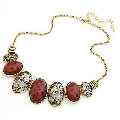 Trendy Gold Plated Red Stones Patterns Pendant Chain Necklace Women Jewelry