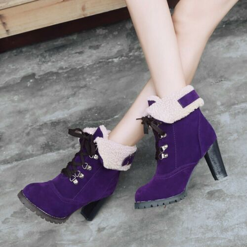New Womens Snow Boots High Heel Lace Up Riding Ankle Boots Plus Size Dress Shoes