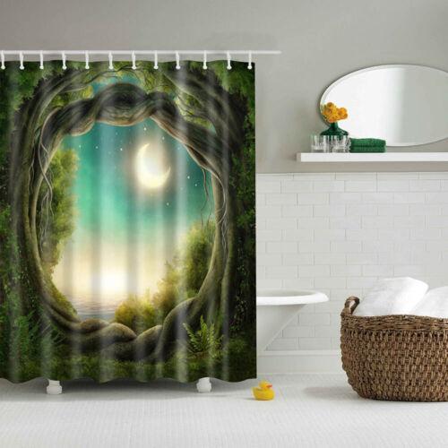 Shower Curtain With Hooks Beautiful Scenery Printed Waterproof Bath Bathroom