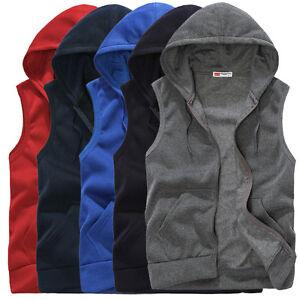 Sport Mens Casual Hoodie Sleeveless Zip Jacket Vest Waistcoat Tops Hooded tanks