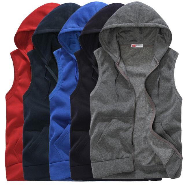 Mens Casual Coat Sleeveless Zip Up Sweatshirt Sports Hoodies Vest Waistcoat Tops