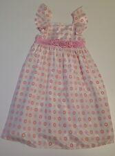 Girl's White and Pink Textured Circle Dress, Size: 6 by Joe Ella
