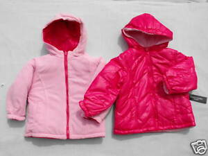 BNWT-Girl-Sz-1-to-2-Years-Hot-Pink-Faded-Glory-Reversible-Hooded-Jacket-Coat