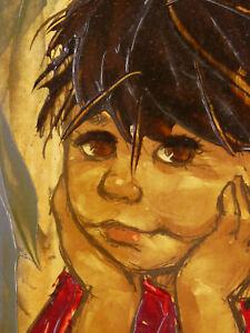 Acrylique / Huile Sur Papier Signée Mas Portrait D'enfant Maternité Fille ExtrêMement Efficace Pour Conserver La Chaleur