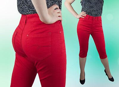 Caprihose Donna Capri Pantaloni Normale Seduti Rosso 42 44 46 48 50-mostra Il Titolo Originale Ottima Qualità