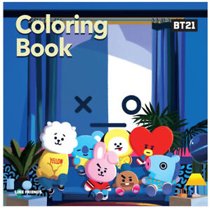 Bt21 Coloring Book Sticker Bts Character Chimmy Cooky Tata