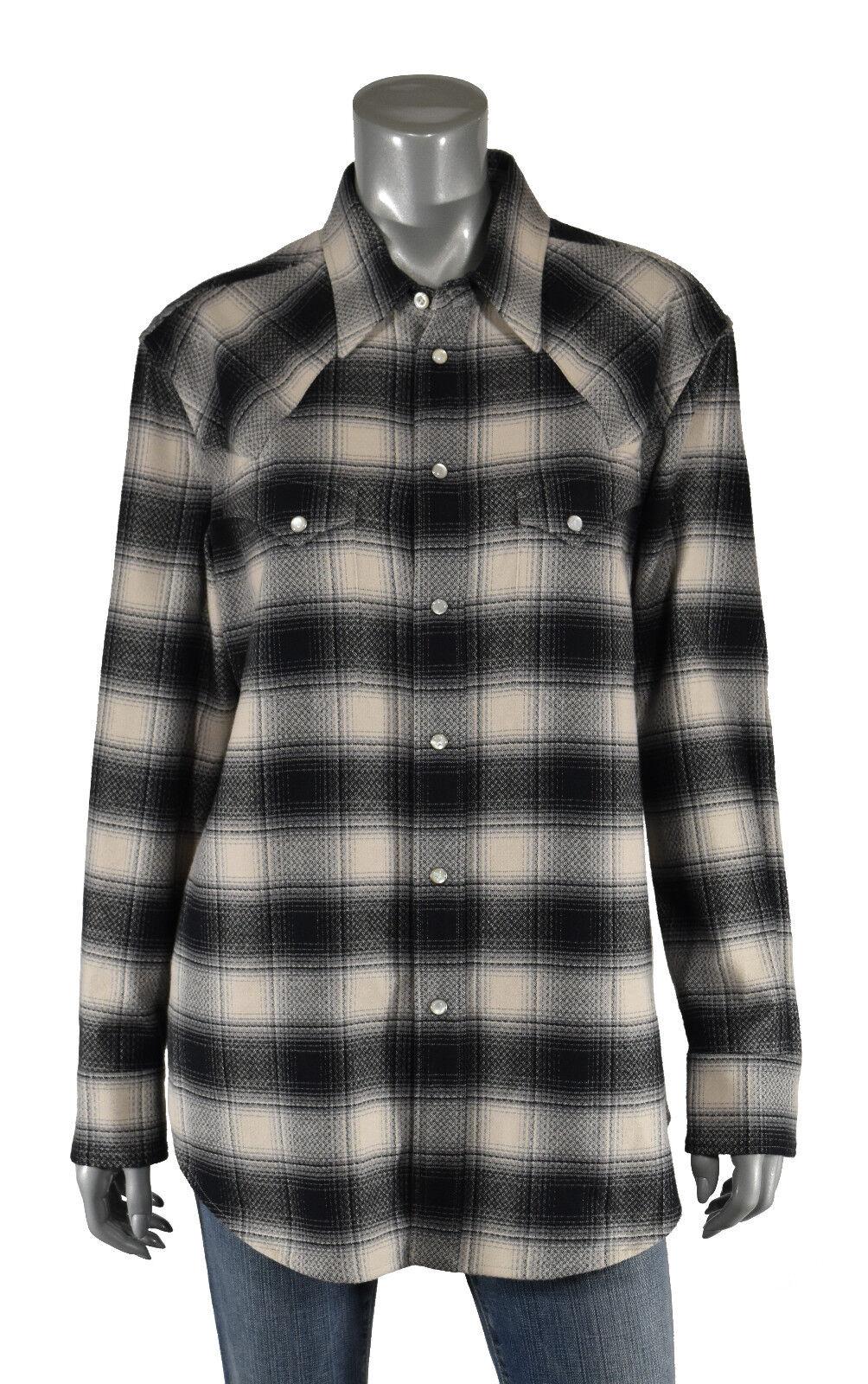 Donna Ralph Lauren Viola Etichetta Nero Western Camicia di Flanella 12 Nuovo