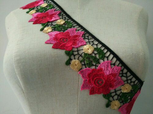 1Yard Embroidered Trim Lace Sew on Flower Ribbon Clothing Accessories Fringe DIY