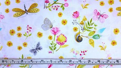LITTLE WORLD BUTTERFLIES FLOWERS FLORAL MICHAEL MILLER COTTON FABRIC