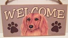 Welcome Red Long Haired Dachshund Dog Breed Wood Sign Plaque New